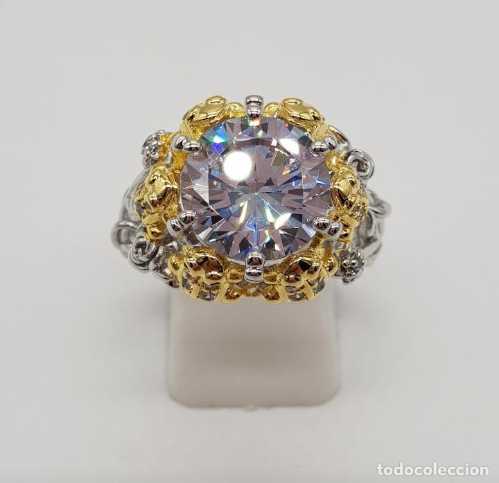 Joyeria: Magnífico anillo de estilo grotesco con acabados en oro y plata de ley, ranas sujetando gran circón - Foto 5 - 154446878