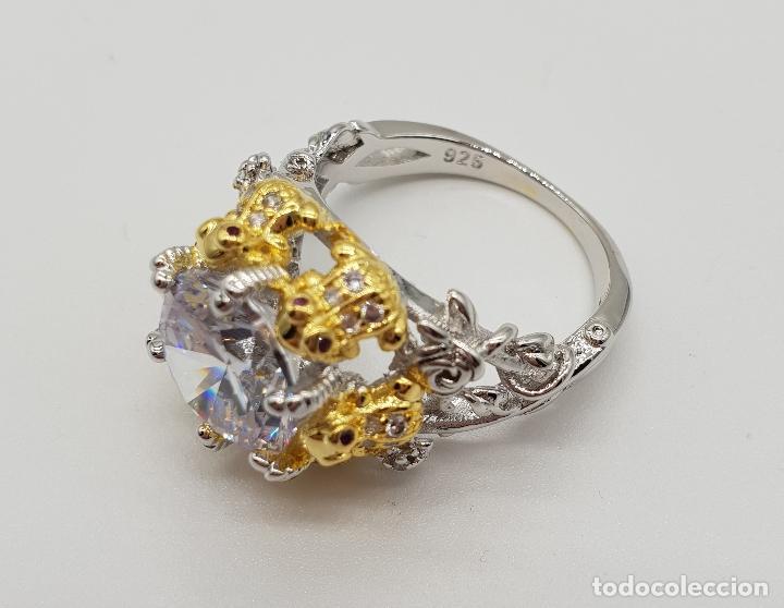 Joyeria: Magnífico anillo de estilo grotesco con acabados en oro y plata de ley, ranas sujetando gran circón - Foto 6 - 154446878