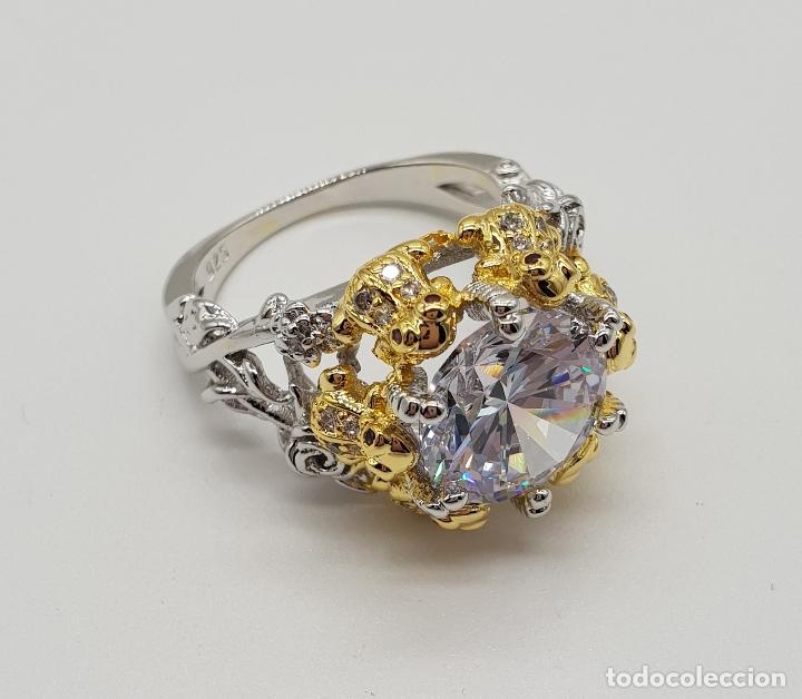 Joyeria: Magnífico anillo de estilo grotesco con acabados en oro y plata de ley, ranas sujetando gran circón - Foto 7 - 154446878