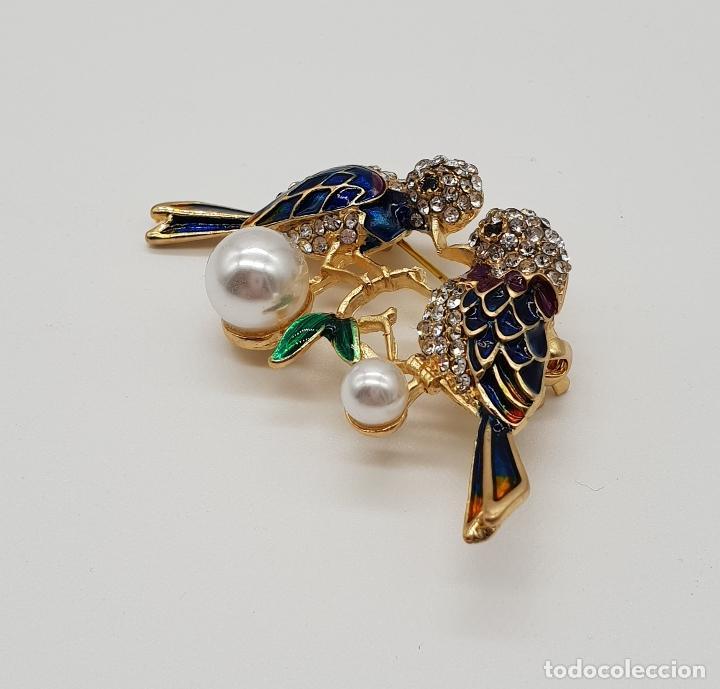 Joyeria: Broche vintage de pareja de aves con acabado en oro, esmaltes al fuego, circonitas y perlas . - Foto 4 - 159301300