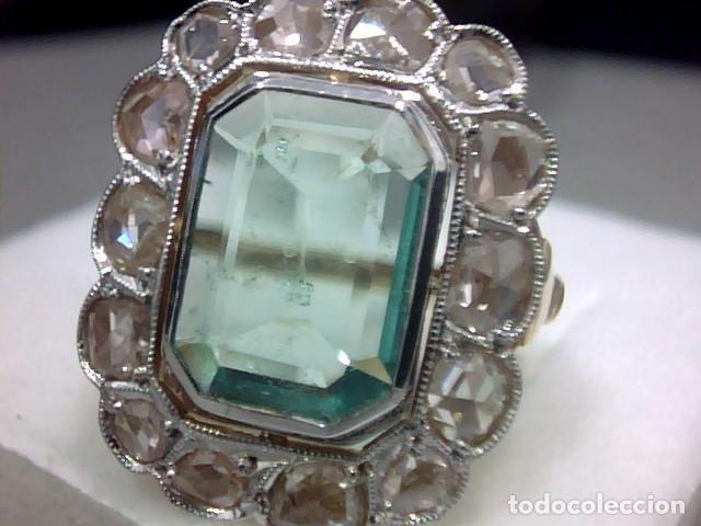 revisa ee874 f3cd9 anillo oro platino ,esmeralda y diamantes