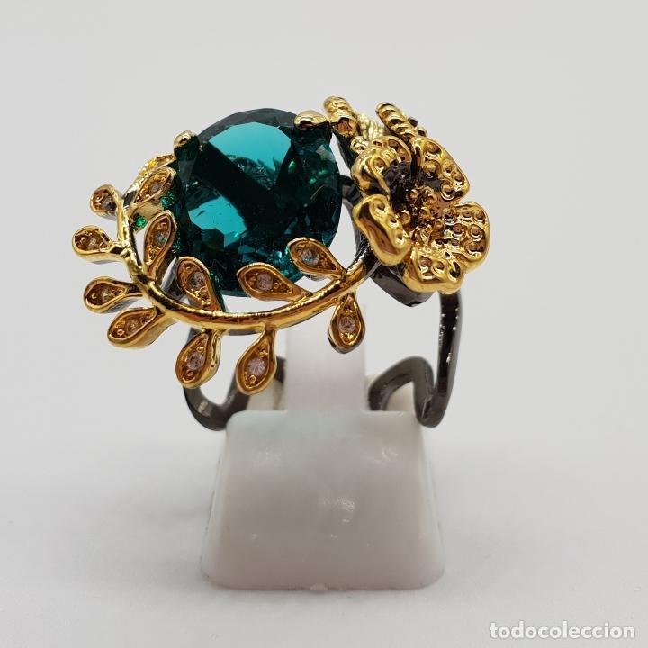 Joyeria: Original anillo de diseño en plata de ley con acabado en negro, oro de 18k y turmalina turquesa . - Foto 2 - 154707318
