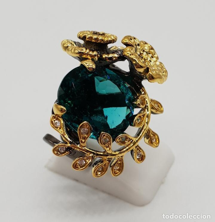 Joyeria: Original anillo de diseño en plata de ley con acabado en negro, oro de 18k y turmalina turquesa . - Foto 3 - 154707318