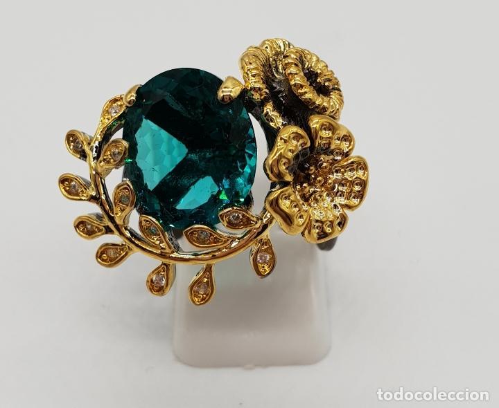 Joyeria: Original anillo de diseño en plata de ley con acabado en negro, oro de 18k y turmalina turquesa . - Foto 4 - 154707318