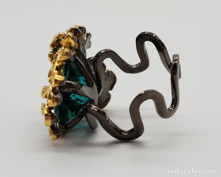 Joyeria: Original anillo de diseño en plata de ley con acabado en negro, oro de 18k y turmalina turquesa . - Foto 5 - 154707318