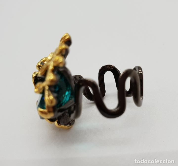 Joyeria: Original anillo de diseño en plata de ley con acabado en negro, oro de 18k y turmalina turquesa . - Foto 6 - 154707318