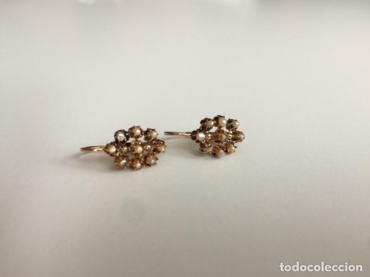 Joyeria: antiguos pendientes de oro de 14 quilates con perlas - Foto 2 - 154769410