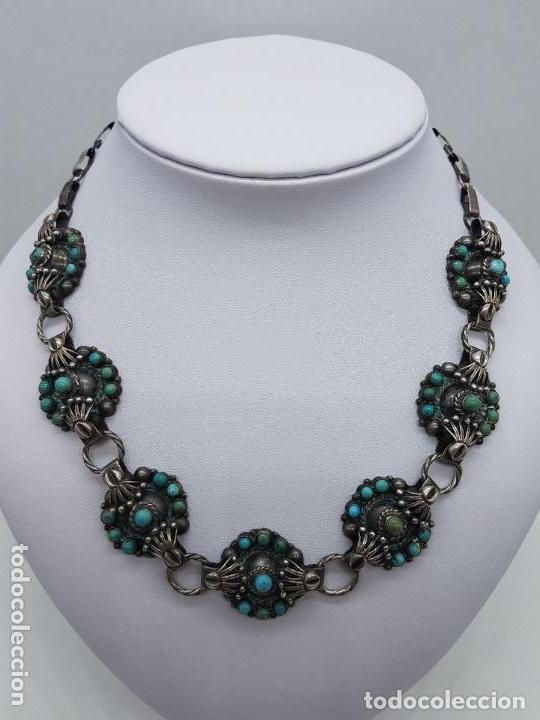 Joyeria: Impresionante gargantilla antigua hecha a mano en plata 925 con cabujones de turquesas naturales. - Foto 2 - 155089842
