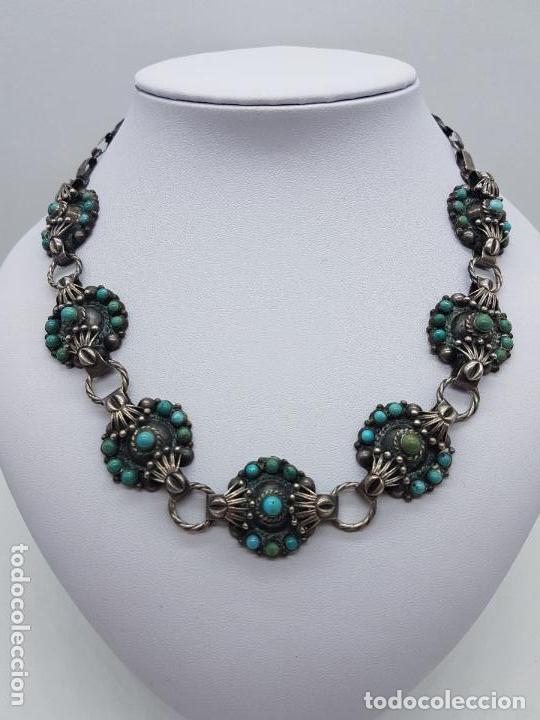 Joyeria: Impresionante gargantilla antigua hecha a mano en plata 925 con cabujones de turquesas naturales. - Foto 3 - 155089842