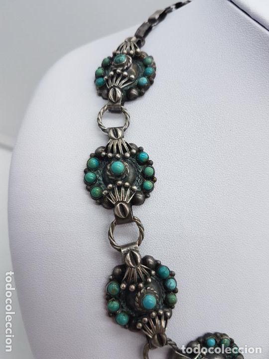 Joyeria: Impresionante gargantilla antigua hecha a mano en plata 925 con cabujones de turquesas naturales. - Foto 4 - 155089842