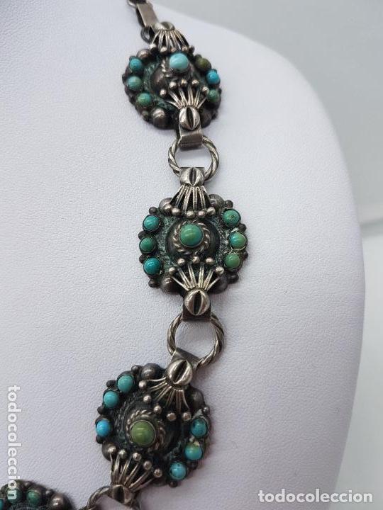 Joyeria: Impresionante gargantilla antigua hecha a mano en plata 925 con cabujones de turquesas naturales. - Foto 5 - 155089842