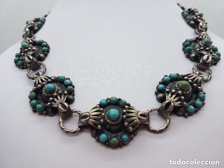 Joyeria: Impresionante gargantilla antigua hecha a mano en plata 925 con cabujones de turquesas naturales. - Foto 6 - 155089842