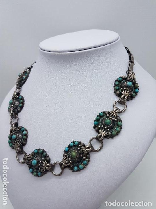 Joyeria: Impresionante gargantilla antigua hecha a mano en plata 925 con cabujones de turquesas naturales. - Foto 7 - 155089842