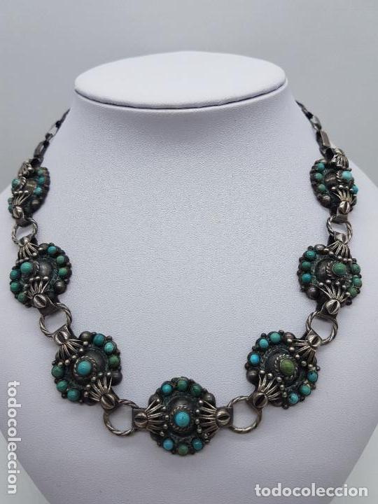 Joyeria: Impresionante gargantilla antigua hecha a mano en plata 925 con cabujones de turquesas naturales. - Foto 8 - 155089842