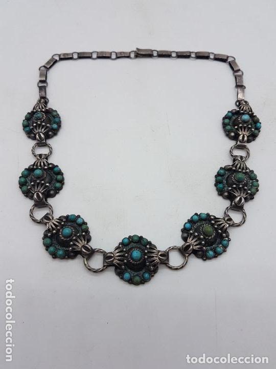 Joyeria: Impresionante gargantilla antigua hecha a mano en plata 925 con cabujones de turquesas naturales. - Foto 9 - 155089842