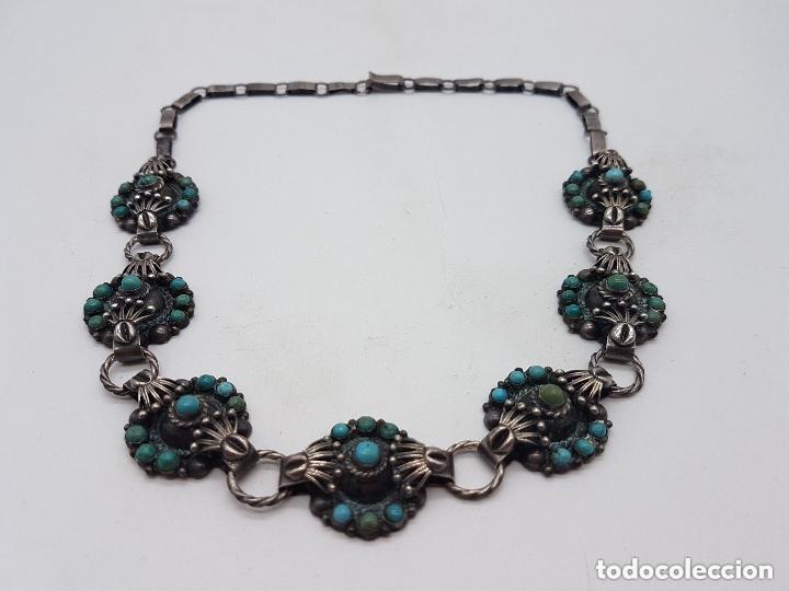 Joyeria: Impresionante gargantilla antigua hecha a mano en plata 925 con cabujones de turquesas naturales. - Foto 11 - 155089842