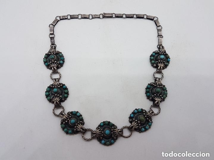 Joyeria: Impresionante gargantilla antigua hecha a mano en plata 925 con cabujones de turquesas naturales. - Foto 12 - 155089842