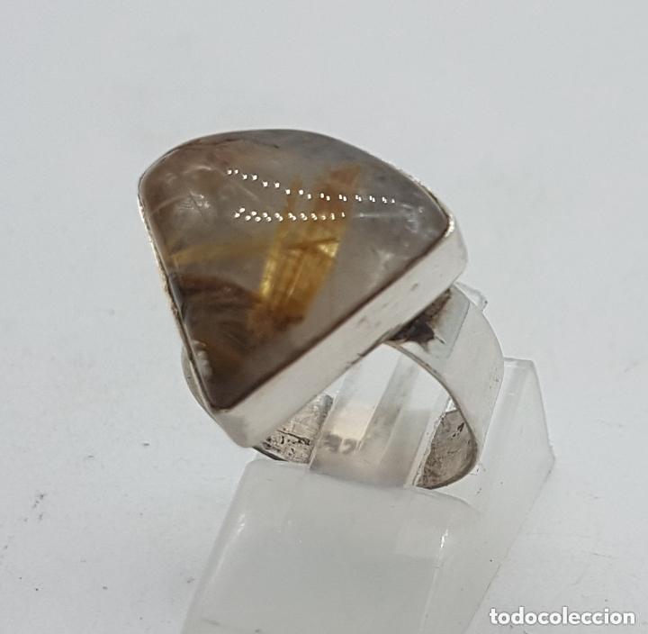Joyeria: Bonito anillo antiguo en plata de ley 925 con hermoso cuarzo rutilado triangular. - Foto 2 - 155212110