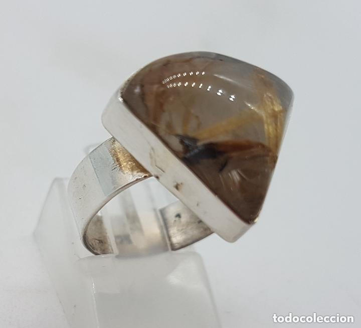 Joyeria: Bonito anillo antiguo en plata de ley 925 con hermoso cuarzo rutilado triangular. - Foto 3 - 155212110
