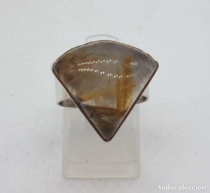 Joyeria: Bonito anillo antiguo en plata de ley 925 con hermoso cuarzo rutilado triangular. - Foto 5 - 155212110