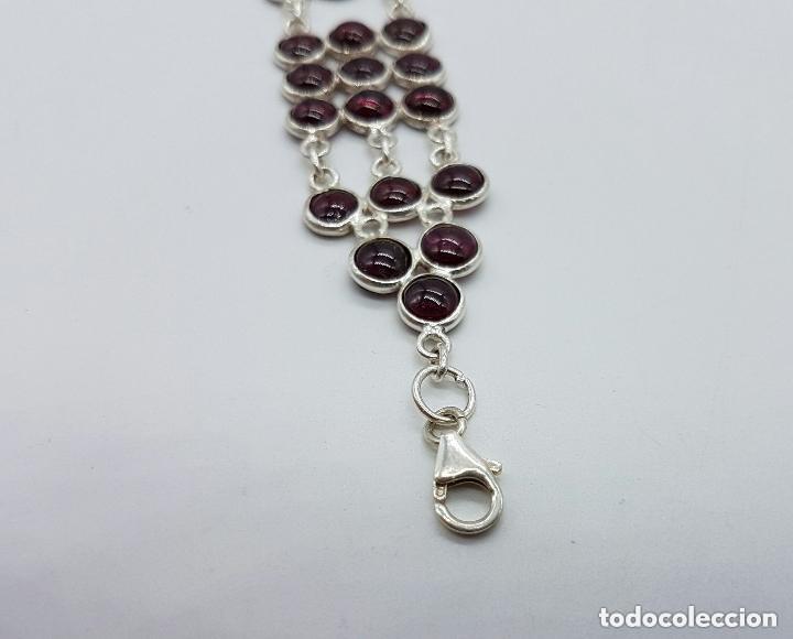 Joyeria: Pulsera antigua en plata de ley contrastada con cabujones de amatistas . - Foto 5 - 155221402