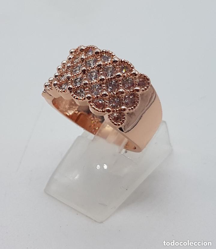 Joyeria: Precioso anillo chapado en oro de 18 quilates con pave de circonita engarzadas. - Foto 3 - 155239306
