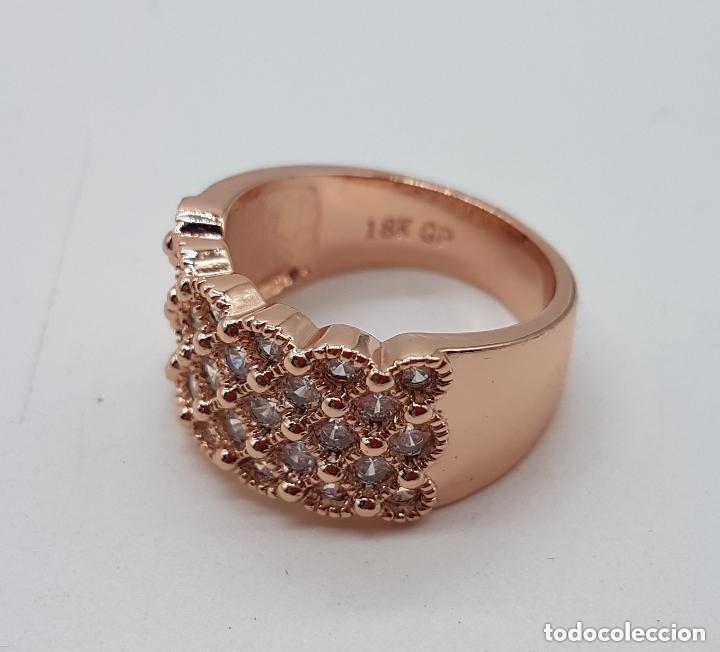 Joyeria: Precioso anillo chapado en oro de 18 quilates con pave de circonita engarzadas. - Foto 4 - 155239306