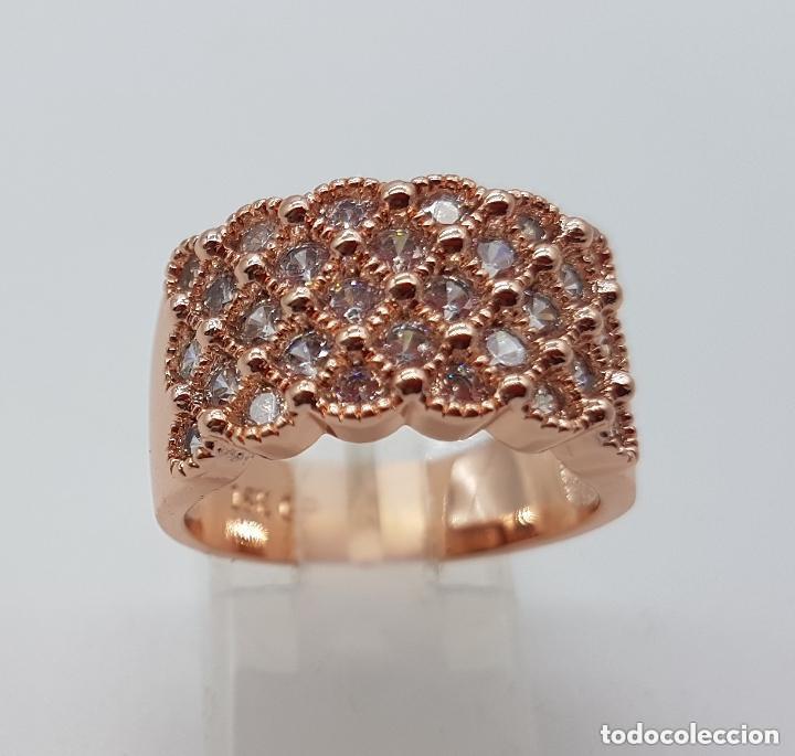 Joyeria: Precioso anillo chapado en oro de 18 quilates con pave de circonita engarzadas. - Foto 5 - 155239306