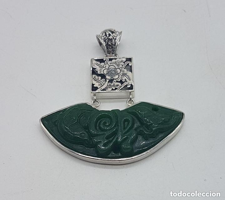 Joyeria: Espectacular gran colgante chino de plata 925 con jade bellamente tallado. - Foto 2 - 155240918