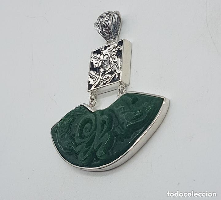 Joyeria: Espectacular gran colgante chino de plata 925 con jade bellamente tallado. - Foto 4 - 155240918