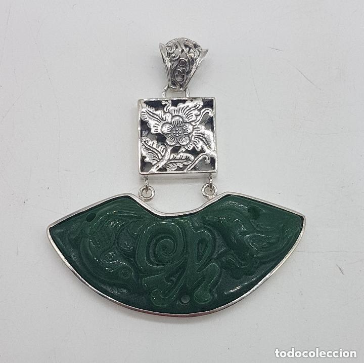 Joyeria: Espectacular gran colgante chino de plata 925 con jade bellamente tallado. - Foto 5 - 155240918