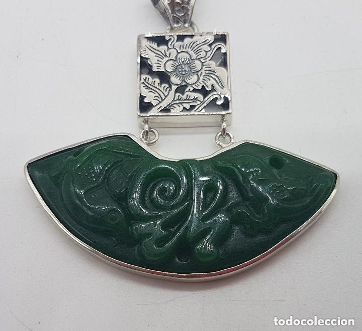 Joyeria: Espectacular gran colgante chino de plata 925 con jade bellamente tallado. - Foto 6 - 155240918