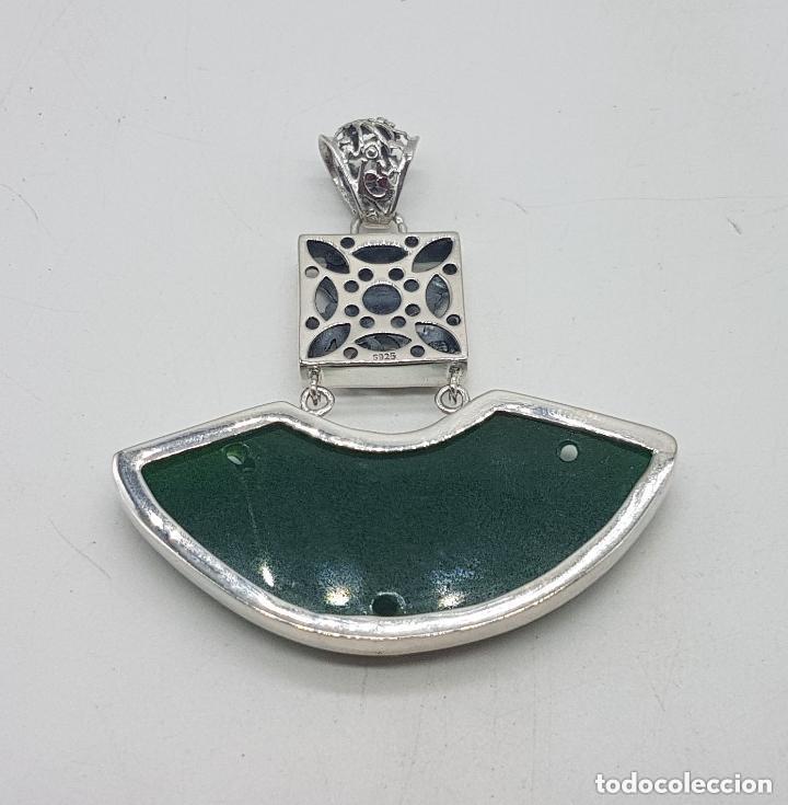 Joyeria: Espectacular gran colgante chino de plata 925 con jade bellamente tallado. - Foto 7 - 155240918