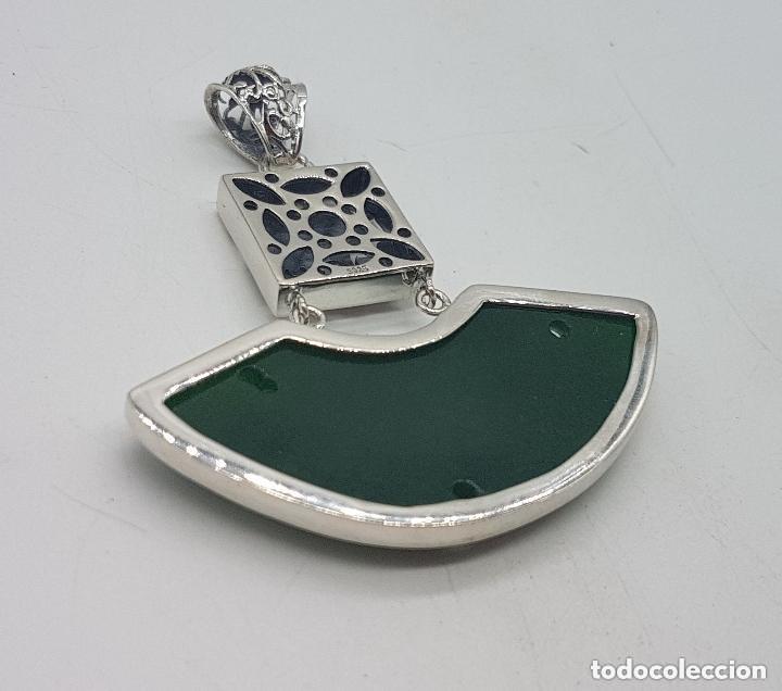 Joyeria: Espectacular gran colgante chino de plata 925 con jade bellamente tallado. - Foto 9 - 155240918