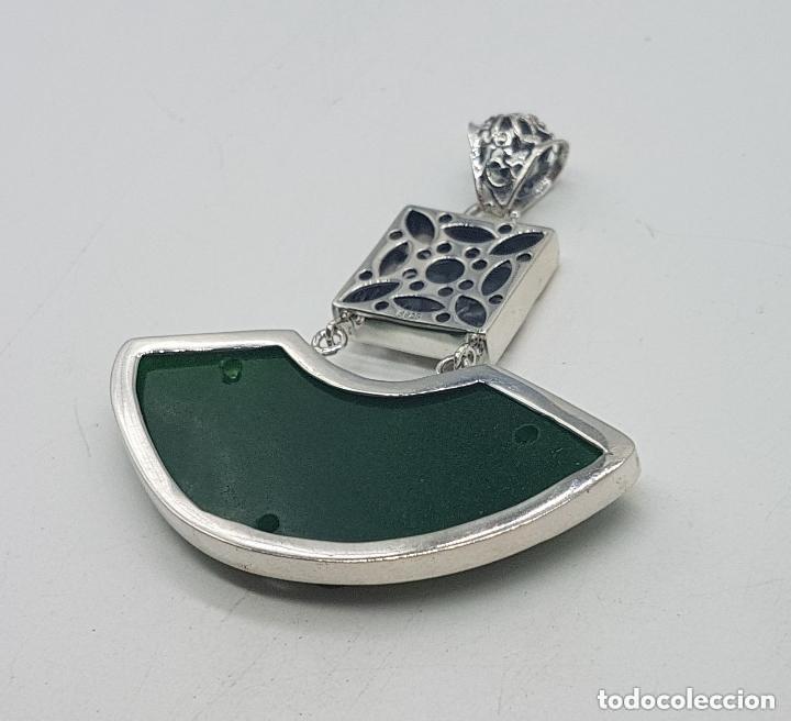 Joyeria: Espectacular gran colgante chino de plata 925 con jade bellamente tallado. - Foto 10 - 155240918