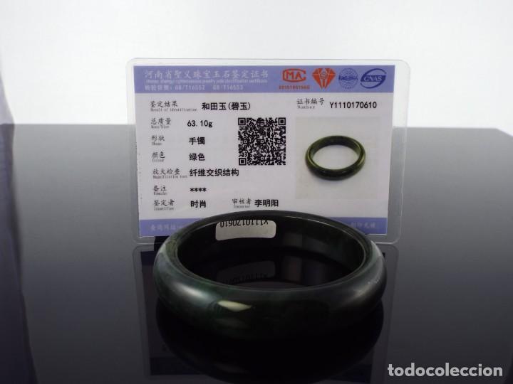 Joyeria: Pulsera con Certificado de Jade Verde Hetian Nefrita 和 田玉 . (Grado A) talla 63mm - Foto 3 - 155241838