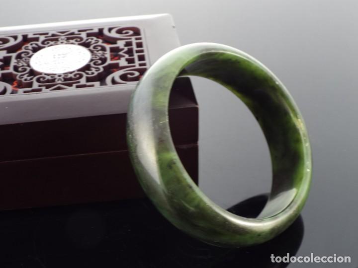 Joyeria: Pulsera con Certificado de Jade Verde Hetian Nefrita 和 田玉 . (Grado A) talla 63mm - Foto 4 - 155241838