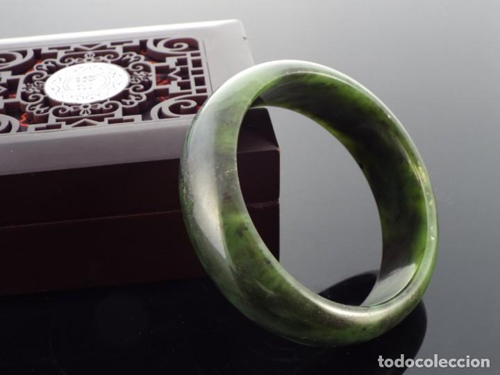 Joyeria: Pulsera con Certificado de Jade Verde Hetian Nefrita 和 田玉 . (Grado A) talla 63mm - Foto 8 - 155241838