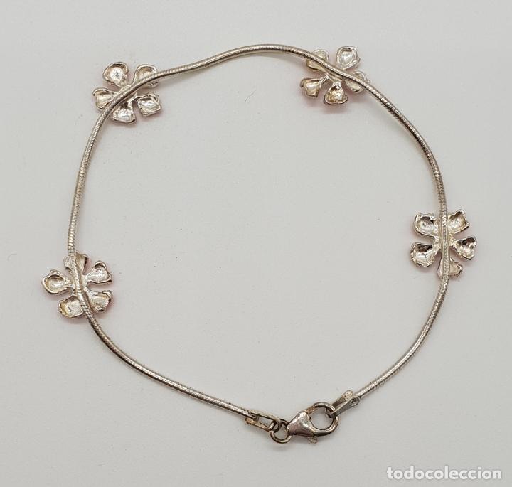 Joyeria: Bonita pulsera en plata de ley contrastada 925 con flores esmaltadas en rosa y blanco . - Foto 3 - 155516958