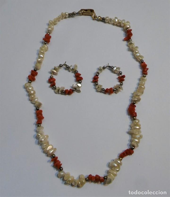 Joyeria: Conjunto collar y pendientes, coral rojo natural mediterráneo, nácar genuino y plata, antiguo s XX - Foto 2 - 155639538
