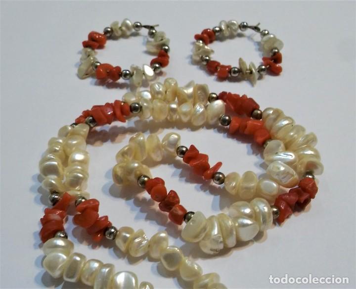 Joyeria: Conjunto collar y pendientes, coral rojo natural mediterráneo, nácar genuino y plata, antiguo s XX - Foto 3 - 155639538