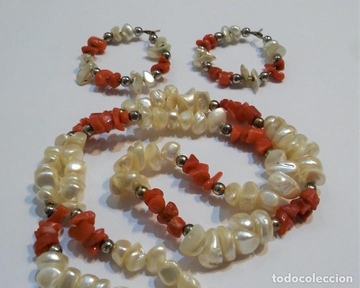 Joyeria: Conjunto collar y pendientes, coral rojo natural mediterráneo, nácar genuino y plata, antiguo s XX - Foto 4 - 155639538
