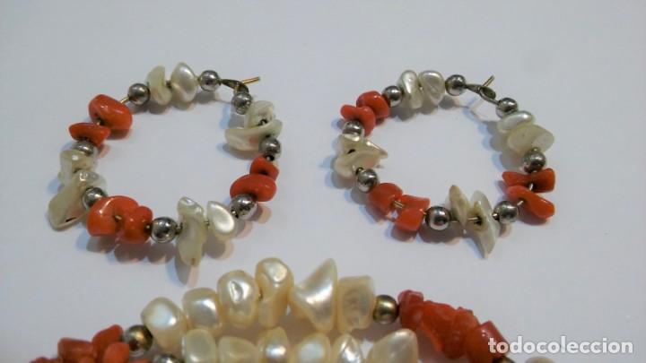 Joyeria: Conjunto collar y pendientes, coral rojo natural mediterráneo, nácar genuino y plata, antiguo s XX - Foto 5 - 155639538