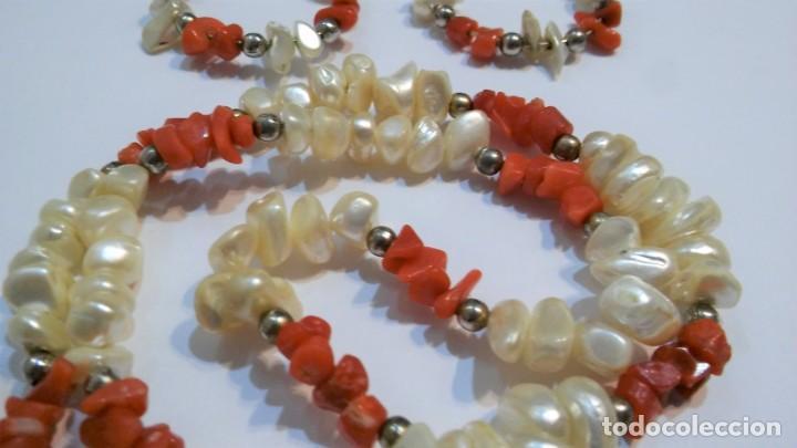 Joyeria: Conjunto collar y pendientes, coral rojo natural mediterráneo, nácar genuino y plata, antiguo s XX - Foto 6 - 155639538