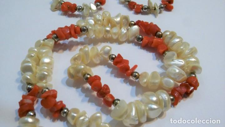Joyeria: Conjunto collar y pendientes, coral rojo natural mediterráneo, nácar genuino y plata, antiguo s XX - Foto 7 - 155639538