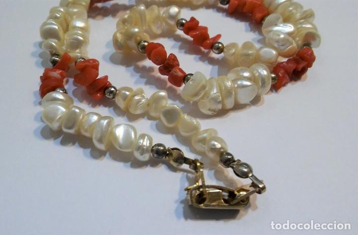 Joyeria: Conjunto collar y pendientes, coral rojo natural mediterráneo, nácar genuino y plata, antiguo s XX - Foto 8 - 155639538
