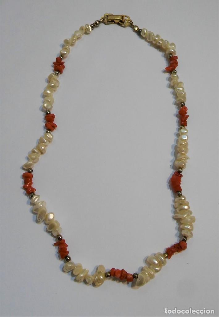 Joyeria: Conjunto collar y pendientes, coral rojo natural mediterráneo, nácar genuino y plata, antiguo s XX - Foto 9 - 155639538