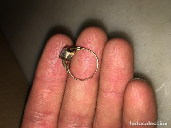 Joyeria: anillo 18 k oro con aguamarina o símil 2.2 g - Foto 3 - 155690770