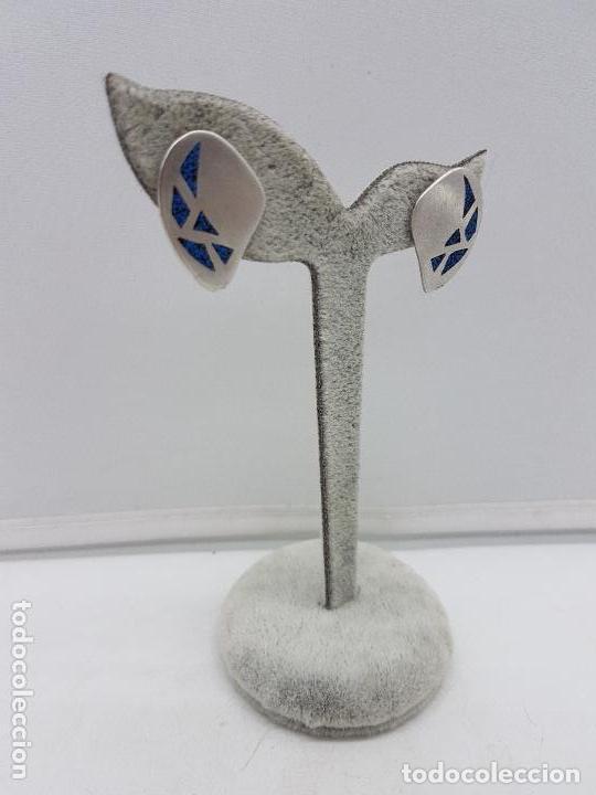 Joyeria: Preciosos pendientes antiguos en plata de ley contrastada con mosaico de turquesas. - Foto 3 - 155888354