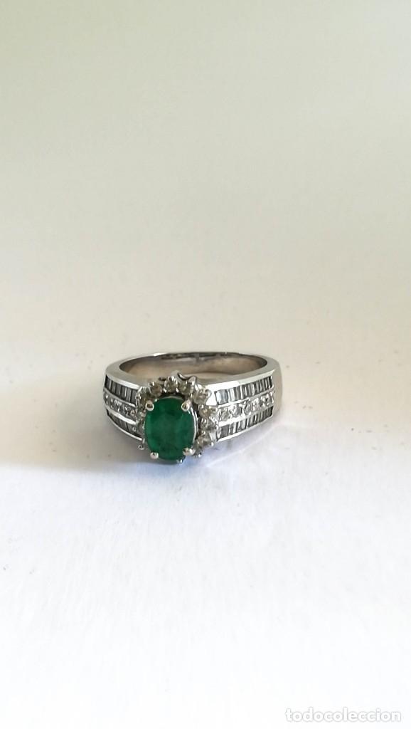 Joyeria: Vintage Anillo Oro Blanco Natural Diamantes y Esmeralda - Foto 2 - 130722449